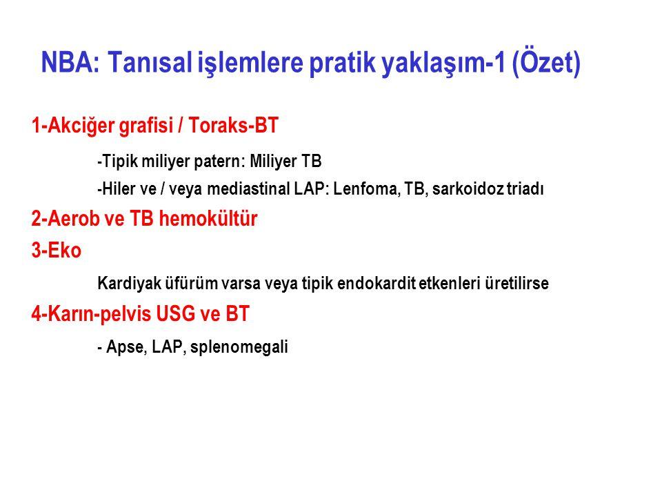 1-Akciğer grafisi / Toraks-BT -Tipik miliyer patern: Miliyer TB -Hiler ve / veya mediastinal LAP: Lenfoma, TB, sarkoidoz triadı 2-Aerob ve TB hemokült