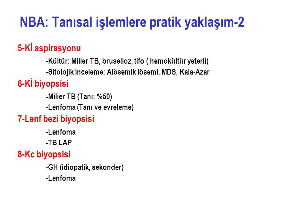 5-Kİ aspirasyonu -Kültür: Milier TB, bruselloz, tifo ( hemokültür yeterli) -Sitolojik inceleme: Alösemik lösemi, MDS, Kala-Azar 6-Kİ biyopsisi -Milier