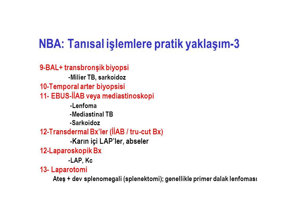 NBA: Tanısal işlemlere pratik yaklaşım-3 9-BAL+ transbronşik biyopsi -Milier TB, sarkoidoz 10-Temporal arter biyopsisi 11- EBUS-İİAB veya mediastinosk