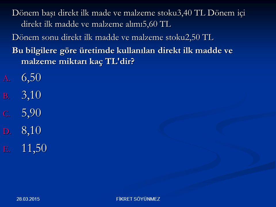 Dönem başı direkt ilk made ve malzeme stoku3,40 TL Dönem içi direkt ilk madde ve malzeme alımı5,60 TL Dönem başı direkt ilk made ve malzeme stoku3,40