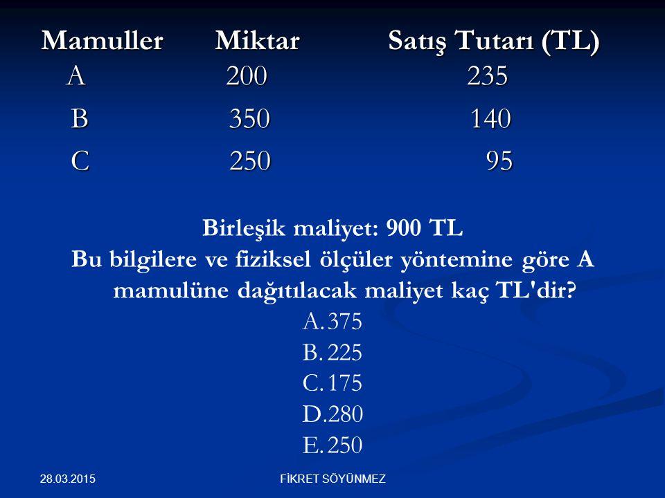 Mamuller Miktar Satış Tutarı (TL) A 200 235 B 350 140 B 350 140 C 250 95 C 250 95 Birleşik maliyet: 900 TL Bu bilgilere ve fiziksel ölçüler yöntemine