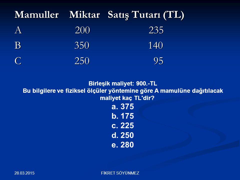 Mamuller Miktar Satış Tutarı (TL) A 200 235 B 350 140 C 250 95 Birleşik maliyet: 900.-TL Bu bilgilere ve fiziksel ölçüler yöntemine göre A mamulüne da