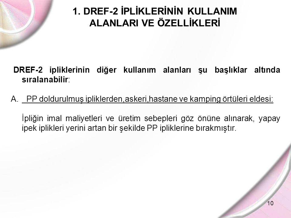 10 1.DREF-2 İPLİKLERİNİN KULLANIM ALANLARI VE ÖZELLİKLERİ DREF-2 ipliklerinin diğer kullanım alanları şu başlıklar altında sıralanabilir: A. PP doldur