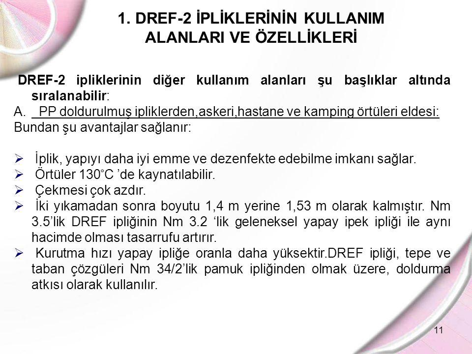 11 1.DREF-2 İPLİKLERİNİN KULLANIM ALANLARI VE ÖZELLİKLERİ DREF-2 ipliklerinin diğer kullanım alanları şu başlıklar altında sıralanabilir: A. PP doldur