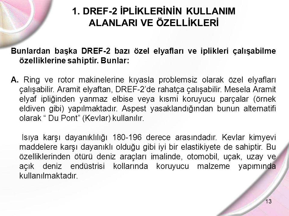 13 1.DREF-2 İPLİKLERİNİN KULLANIM ALANLARI VE ÖZELLİKLERİ Bunlardan başka DREF-2 bazı özel elyafları ve iplikleri çalışabilme özelliklerine sahiptir.