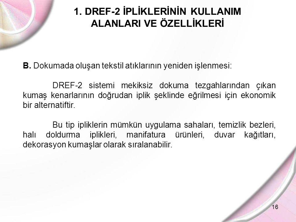 16 1.DREF-2 İPLİKLERİNİN KULLANIM ALANLARI VE ÖZELLİKLERİ B. Dokumada oluşan tekstil atıklarının yeniden işlenmesi: DREF-2 sistemi mekiksiz dokuma tez