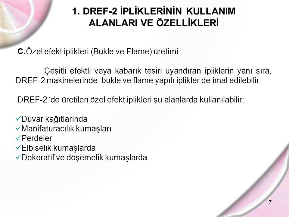17 1.DREF-2 İPLİKLERİNİN KULLANIM ALANLARI VE ÖZELLİKLERİ C.Özel efekt iplikleri (Bukle ve Flame) üretimi: Çeşitli efektli veya kabarık tesiri uyandır