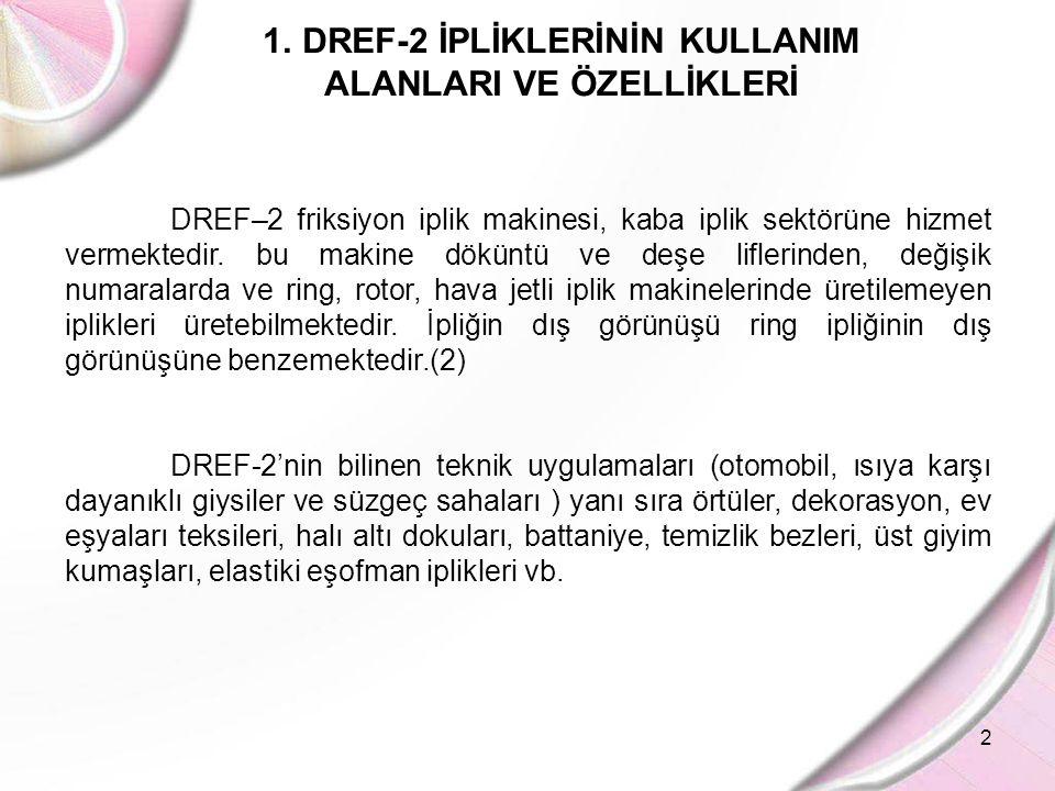 2 1.DREF-2 İPLİKLERİNİN KULLANIM ALANLARI VE ÖZELLİKLERİ DREF–2 friksiyon iplik makinesi, kaba iplik sektörüne hizmet vermektedir. bu makine döküntü v