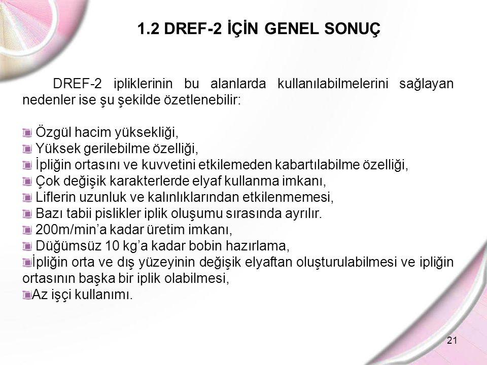 21 1.2 DREF-2 İÇİN GENEL SONUÇ DREF-2 ipliklerinin bu alanlarda kullanılabilmelerini sağlayan nedenler ise şu şekilde özetlenebilir: Özgül hacim yükse