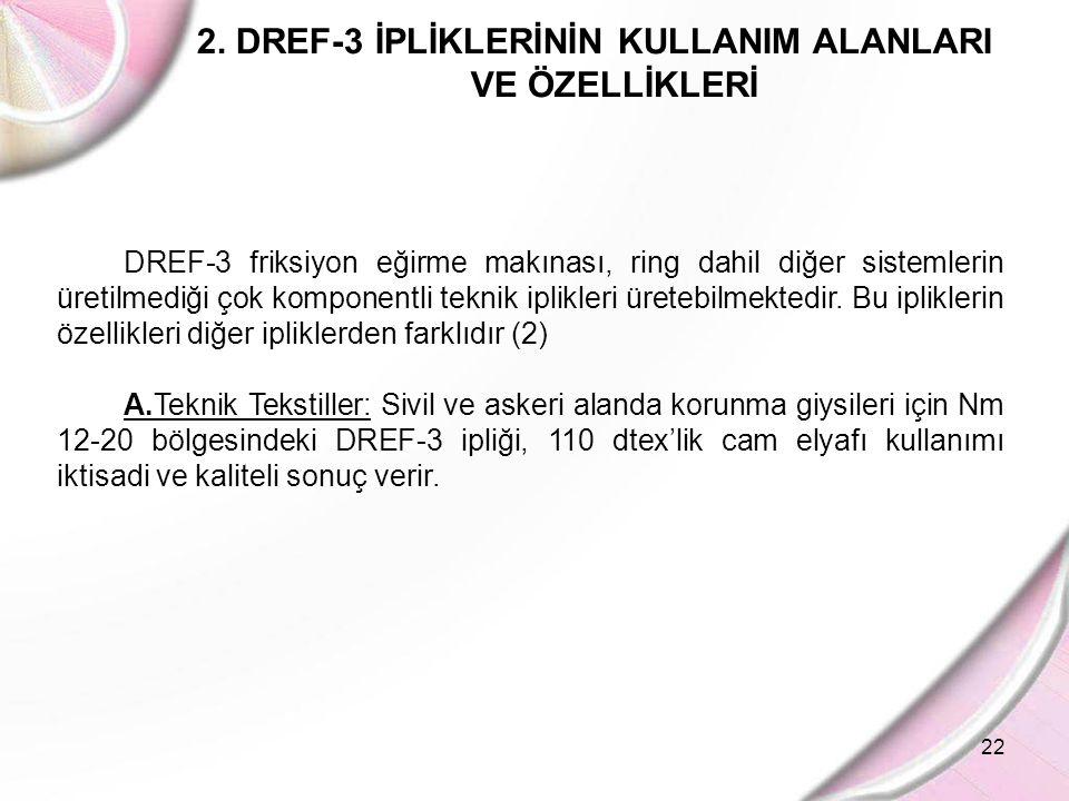 22 2. DREF-3 İPLİKLERİNİN KULLANIM ALANLARI VE ÖZELLİKLERİ DREF-3 friksiyon eğirme makınası, ring dahil diğer sistemlerin üretilmediği çok komponentli