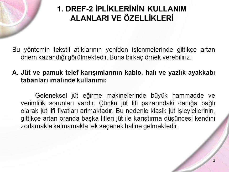 3 1.DREF-2 İPLİKLERİNİN KULLANIM ALANLARI VE ÖZELLİKLERİ Bu yöntemin tekstil atıklarının yeniden işlenmelerinde gittikçe artan önem kazandığı görülmek