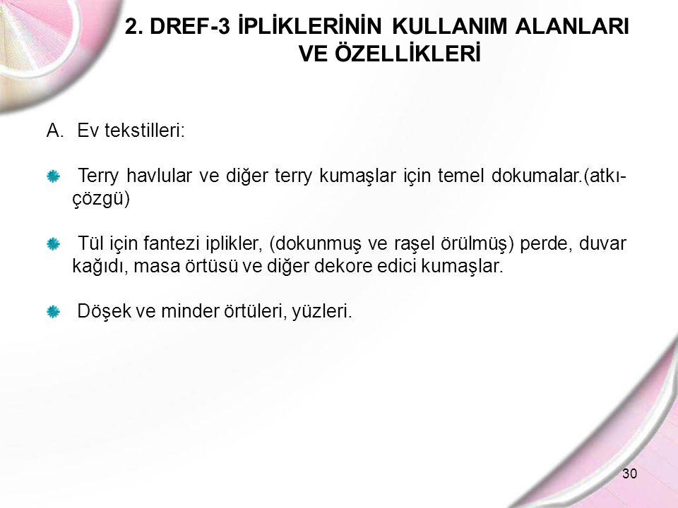 30 2. DREF-3 İPLİKLERİNİN KULLANIM ALANLARI VE ÖZELLİKLERİ A. Ev tekstilleri: Terry havlular ve diğer terry kumaşlar için temel dokumalar.(atkı- çözgü