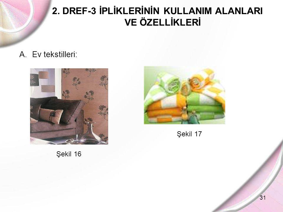31 2. DREF-3 İPLİKLERİNİN KULLANIM ALANLARI VE ÖZELLİKLERİ A. Ev tekstilleri: Şekil 16 Şekil 17