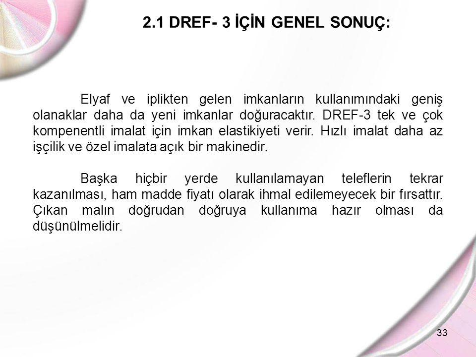 33 2.1 DREF- 3 İÇİN GENEL SONUÇ: Elyaf ve iplikten gelen imkanların kullanımındaki geniş olanaklar daha da yeni imkanlar doğuracaktır. DREF-3 tek ve ç