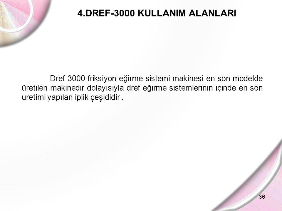 36 4.DREF-3000 KULLANIM ALANLARI Dref 3000 friksiyon eğirme sistemi makinesi en son modelde üretilen makinedir dolayısıyla dref eğirme sistemlerinin i
