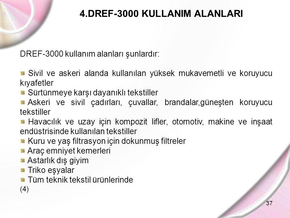 37 4.DREF-3000 KULLANIM ALANLARI DREF-3000 kullanım alanları şunlardır: Sivil ve askeri alanda kullanılan yüksek mukavemetli ve koruyucu kıyafetler Sü