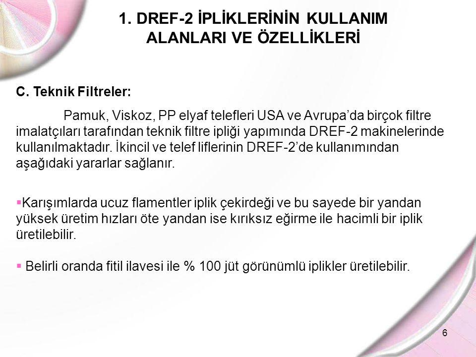 6 1.DREF-2 İPLİKLERİNİN KULLANIM ALANLARI VE ÖZELLİKLERİ C. Teknik Filtreler: Pamuk, Viskoz, PP elyaf telefleri USA ve Avrupa'da birçok filtre imalatç
