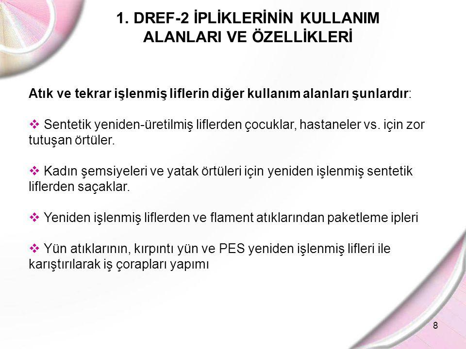 8 1.DREF-2 İPLİKLERİNİN KULLANIM ALANLARI VE ÖZELLİKLERİ Atık ve tekrar işlenmiş liflerin diğer kullanım alanları şunlardır:  Sentetik yeniden-üretil