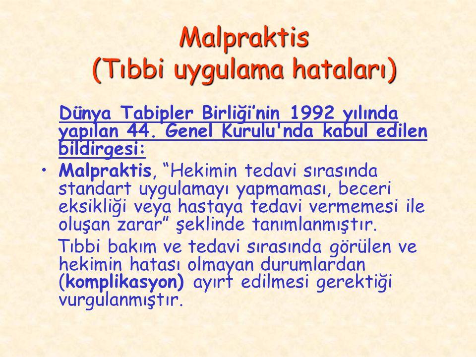 """Malpraktis (Tıbbi uygulama hataları) Dünya Tabipler Birliği'nin 1992 yılında yapılan 44. Genel Kurulu'nda kabul edilen bildirgesi: Malpraktis, """"Hekimi"""