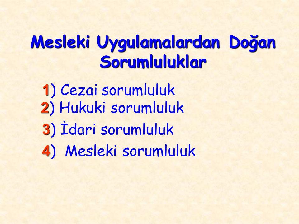 1 2 1 ) Cezai sorumluluk 2 ) Hukuki sorumluluk 3 3 ) İdari sorumluluk 4 4 ) Mesleki sorumluluk