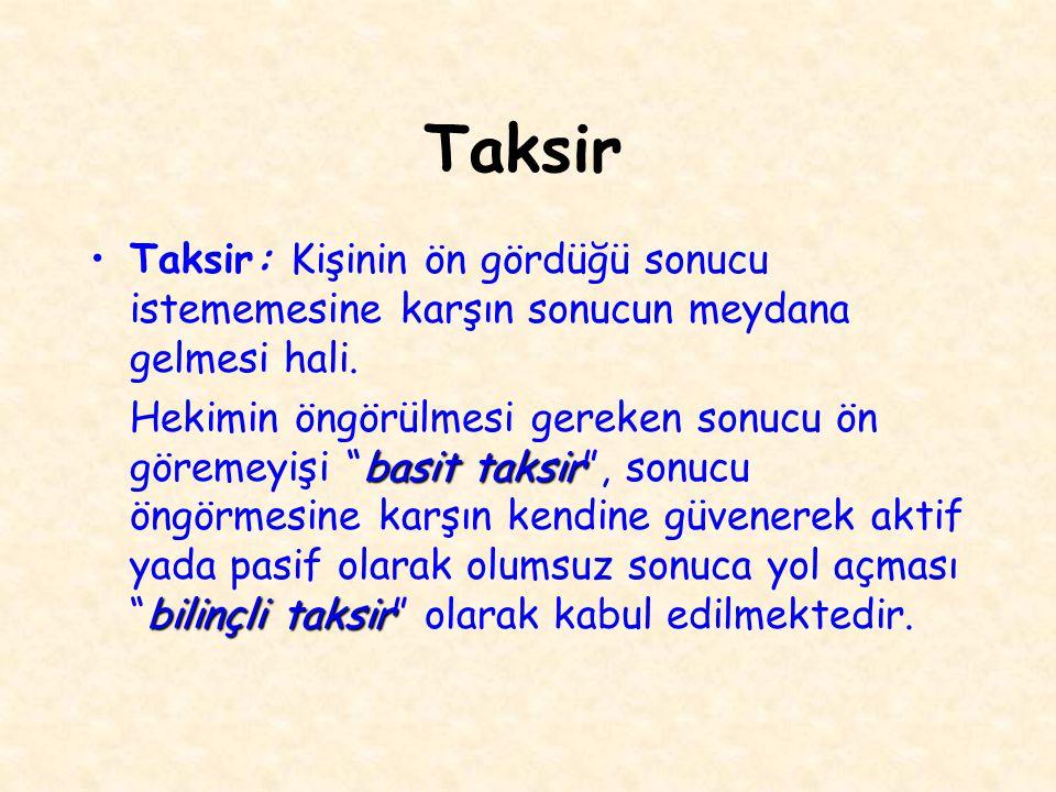Taksir Taksir: Kişinin ön gördüğü sonucu istememesine karşın sonucun meydana gelmesi hali. basit taksir bilinçli taksir Hekimin öngörülmesi gereken so