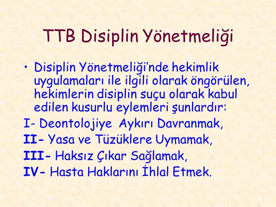 TTB Disiplin Yönetmeliği Disiplin Yönetmeliği'nde hekimlik uygulamaları ile ilgili olarak öngörülen, hekimlerin disiplin suçu olarak kabul edilen kusurlu eylemleri şunlardır: I- Deontolojiye Aykırı Davranmak, II- Yasa ve Tüzüklere Uymamak, III- Haksız Çıkar Sağlamak, IV- Hasta Haklarını İhlal Etmek.