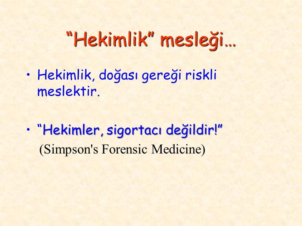 """""""Hekimlik"""" mesleği… Hekimlik, doğası gereği riskli meslektir. Hekimler, sigortacı değildir!""""""""Hekimler, sigortacı değildir!"""" (Simpson's Forensic Medici"""
