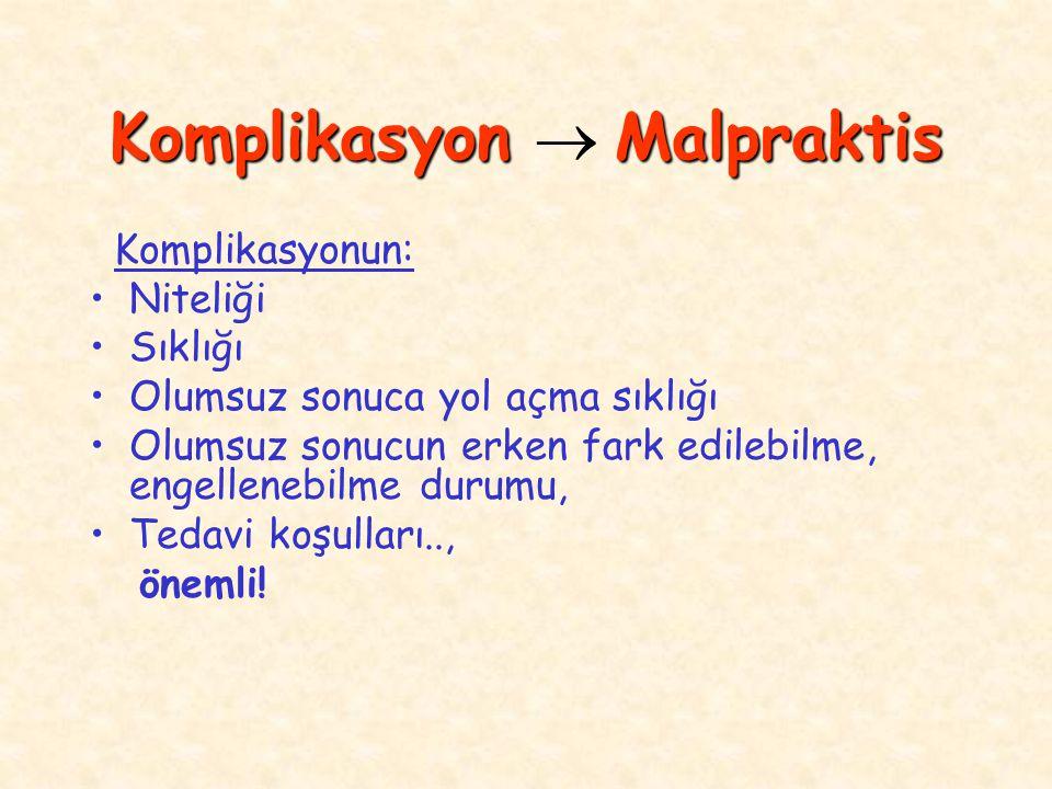 Komplikasyon Malpraktis Komplikasyon  Malpraktis Komplikasyonun: Niteliği Sıklığı Olumsuz sonuca yol açma sıklığı Olumsuz sonucun erken fark edilebilme, engellenebilme durumu, Tedavi koşulları.., önemli!