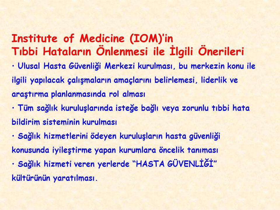 Institute of Medicine (IOM)'in Tıbbi Hataların Önlenmesi ile İlgili Önerileri Ulusal Hasta Güvenliği Merkezi kurulması, bu merkezin konu ile ilgili ya