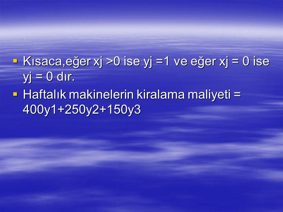  Kısaca,eğer xj >0 ise yj =1 ve eğer xj = 0 ise yj = 0 dır.