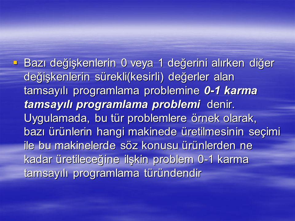  Bazı değişkenlerin 0 veya 1 değerini alırken diğer değişkenlerin sürekli(kesirli) değerler alan tamsayılı programlama problemine 0-1 karma tamsayılı programlama problemi denir.