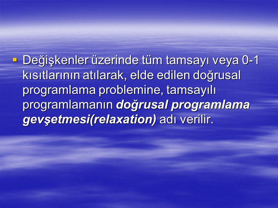  Değişkenler üzerinde tüm tamsayı veya 0-1 kısıtlarının atılarak, elde edilen doğrusal programlama problemine, tamsayılı programlamanın doğrusal programlama gevşetmesi(relaxation) adı verilir.