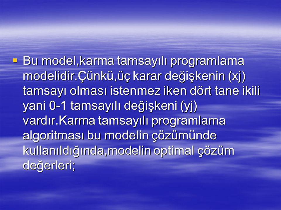  Bu model,karma tamsayılı programlama modelidir.Çünkü,üç karar değişkenin (xj) tamsayı olması istenmez iken dört tane ikili yani 0-1 tamsayılı değişkeni (yj) vardır.Karma tamsayılı programlama algoritması bu modelin çözümünde kullanıldığında,modelin optimal çözüm değerleri;