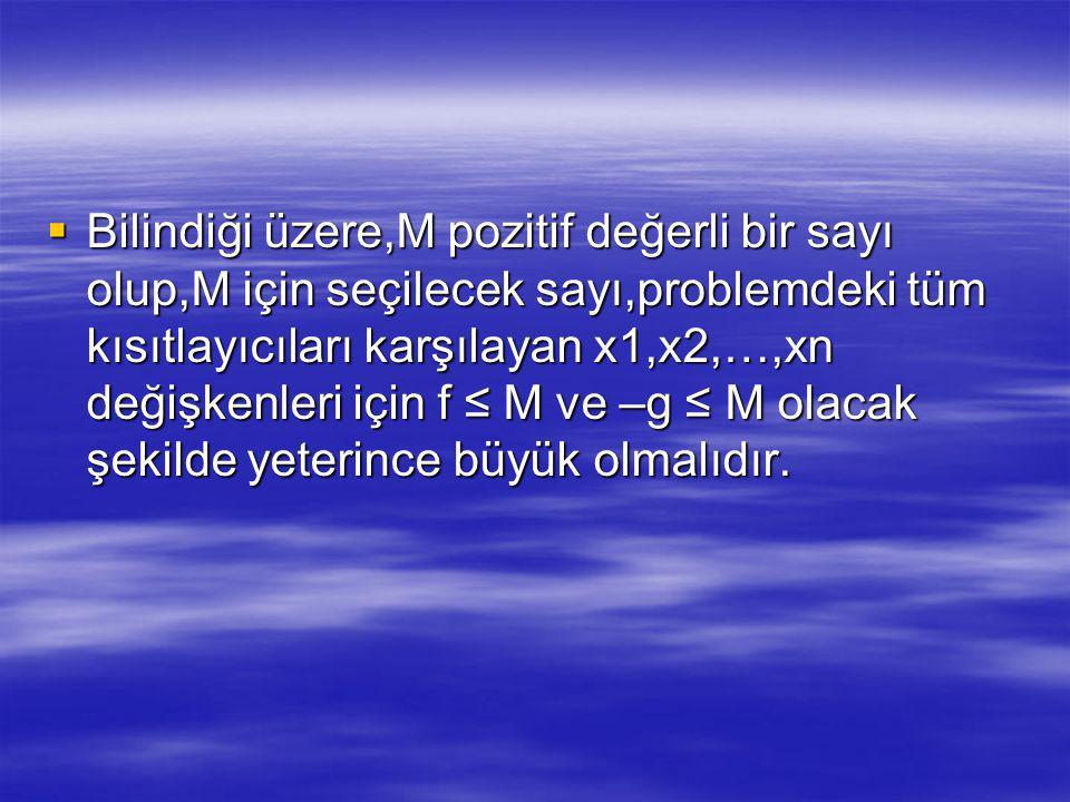  Bilindiği üzere,M pozitif değerli bir sayı olup,M için seçilecek sayı,problemdeki tüm kısıtlayıcıları karşılayan x1,x2,…,xn değişkenleri için f ≤ M ve –g ≤ M olacak şekilde yeterince büyük olmalıdır.