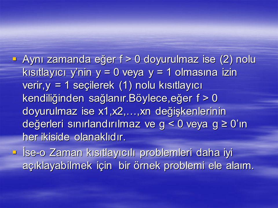  Aynı zamanda eğer f > 0 doyurulmaz ise (2) nolu kısıtlayıcı y'nin y = 0 veya y = 1 olmasına izin verir,y = 1 seçilerek (1) nolu kısıtlayıcı kendiliğinden sağlanır.Böylece,eğer f > 0 doyurulmaz ise x1,x2,…,xn değişkenlerinin değerleri sınırlandırılmaz ve g 0 doyurulmaz ise (2) nolu kısıtlayıcı y'nin y = 0 veya y = 1 olmasına izin verir,y = 1 seçilerek (1) nolu kısıtlayıcı kendiliğinden sağlanır.Böylece,eğer f > 0 doyurulmaz ise x1,x2,…,xn değişkenlerinin değerleri sınırlandırılmaz ve g < 0 veya g ≥ 0'ın her ikiside olanaklıdır.
