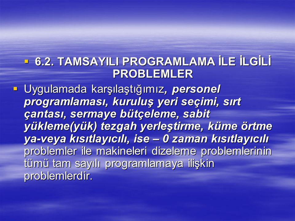 6.2. TAMSAYILI PROGRAMLAMA İLE İLGİLİ PROBLEMLER  Uygulamada karşılaştığımız, personel programlaması, kuruluş yeri seçimi, sırt çantası, sermaye bü