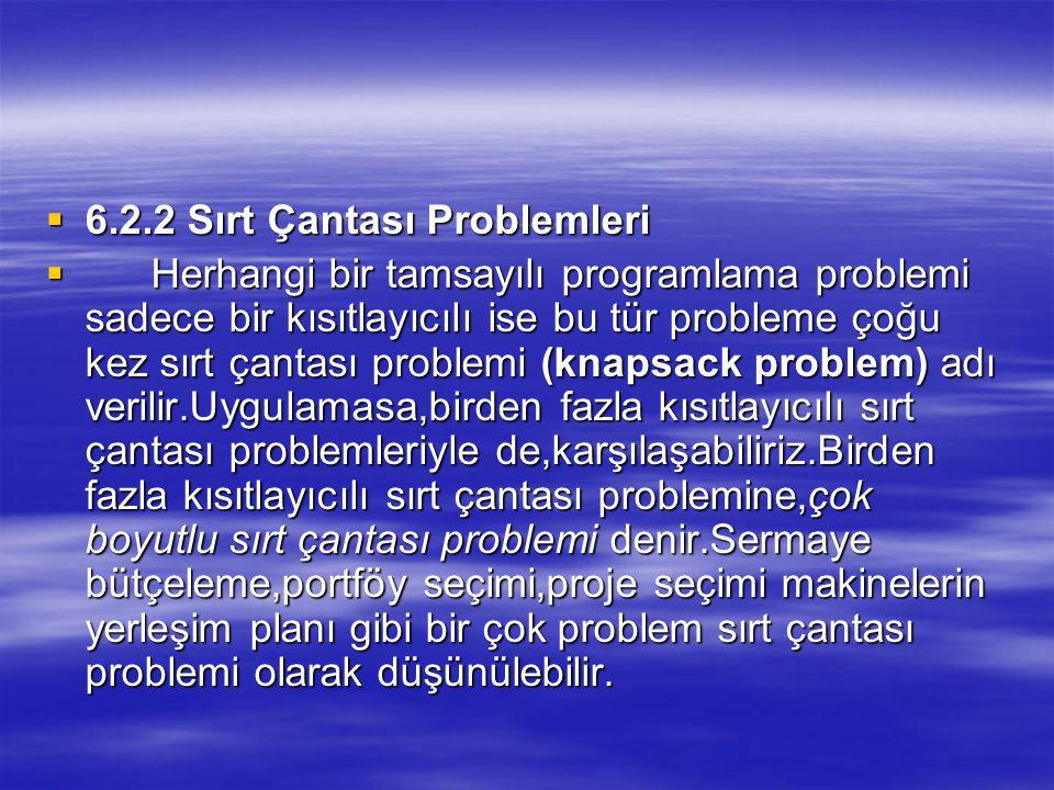  6.2.2 Sırt Çantası Problemleri  Herhangi bir tamsayılı programlama problemi sadece bir kısıtlayıcılı ise bu tür probleme çoğu kez sırt çantası problemi (knapsack problem) adı verilir.Uygulamasa,birden fazla kısıtlayıcılı sırt çantası problemleriyle de,karşılaşabiliriz.Birden fazla kısıtlayıcılı sırt çantası problemine,çok boyutlu sırt çantası problemi denir.Sermaye bütçeleme,portföy seçimi,proje seçimi makinelerin yerleşim planı gibi bir çok problem sırt çantası problemi olarak düşünülebilir.