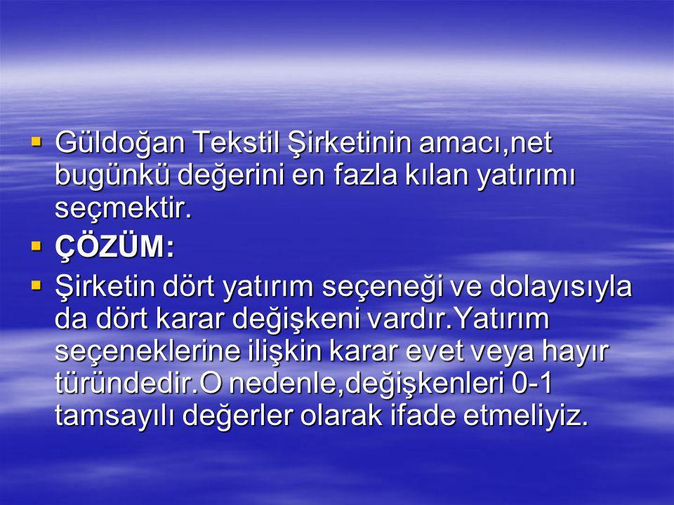  Güldoğan Tekstil Şirketinin amacı,net bugünkü değerini en fazla kılan yatırımı seçmektir.