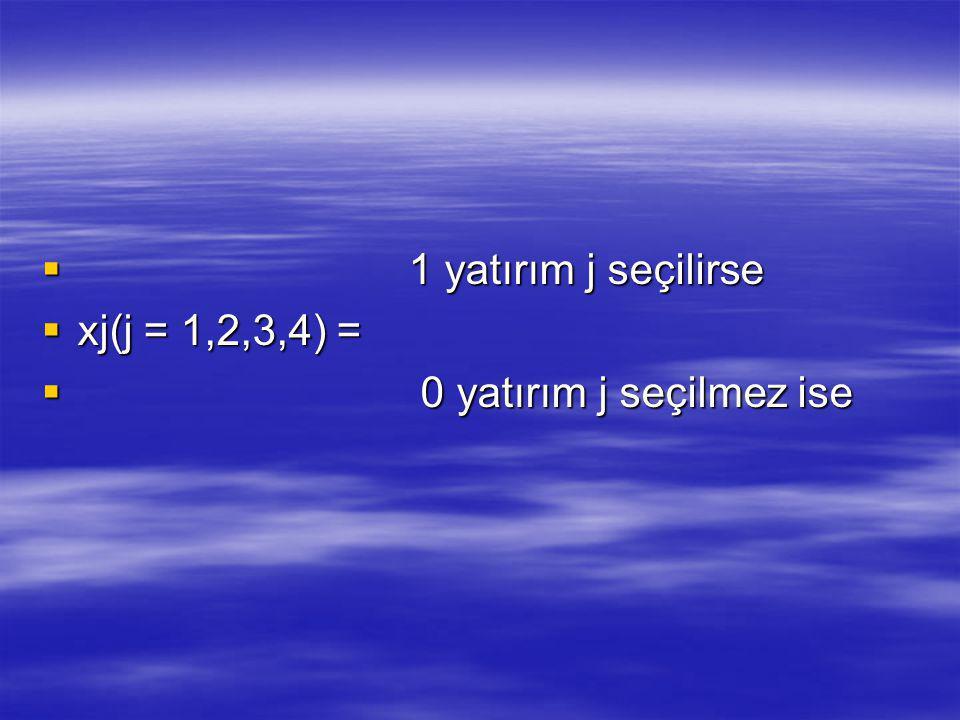 1 yatırım j seçilirse  xj(j = 1,2,3,4) =  0 yatırım j seçilmez ise