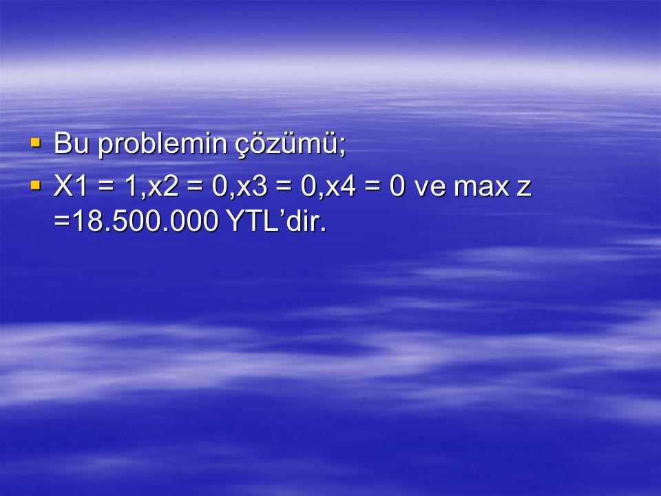 Bu problemin çözümü;  X1 = 1,x2 = 0,x3 = 0,x4 = 0 ve max z =18.500.000 YTL'dir.