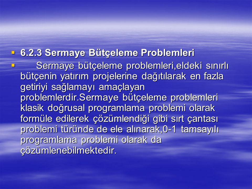  6.2.3 Sermaye Bütçeleme Problemleri  Sermaye bütçeleme problemleri,eldeki sınırlı bütçenin yatırım projelerine dağıtılarak en fazla getiriyi sağlamayı amaçlayan problemlerdir.Sermaye bütçeleme problemleri klasik doğrusal programlama problemi olarak formüle edilerek çözümlendiği gibi sırt çantası problemi türünde de ele alınarak,0-1 tamsayılı programlama problemi olarak da çözümlenebilmektedir.