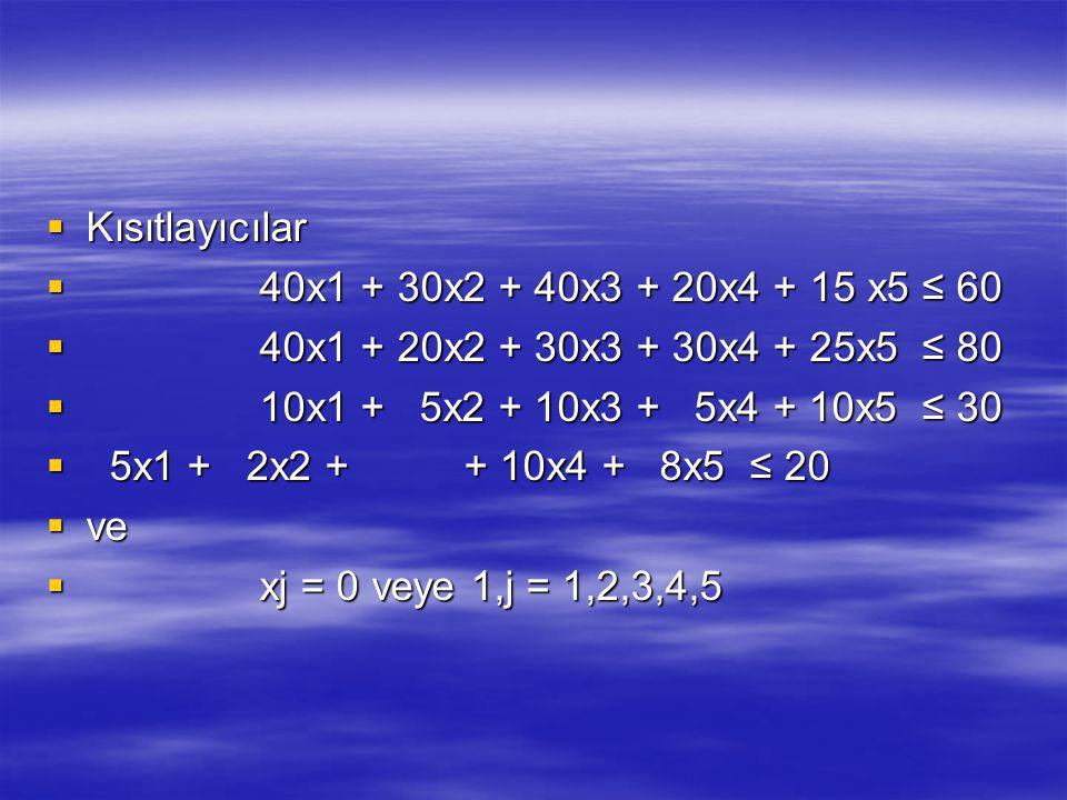  Kısıtlayıcılar  40x1 + 30x2 + 40x3 + 20x4 + 15 x5 ≤ 60  40x1 + 20x2 + 30x3 + 30x4 + 25x5 ≤ 80  10x1 + 5x2 + 10x3 + 5x4 + 10x5 ≤ 30  5x1 + 2x2 + + 10x4 + 8x5 ≤ 20  ve  xj = 0 veye 1,j = 1,2,3,4,5