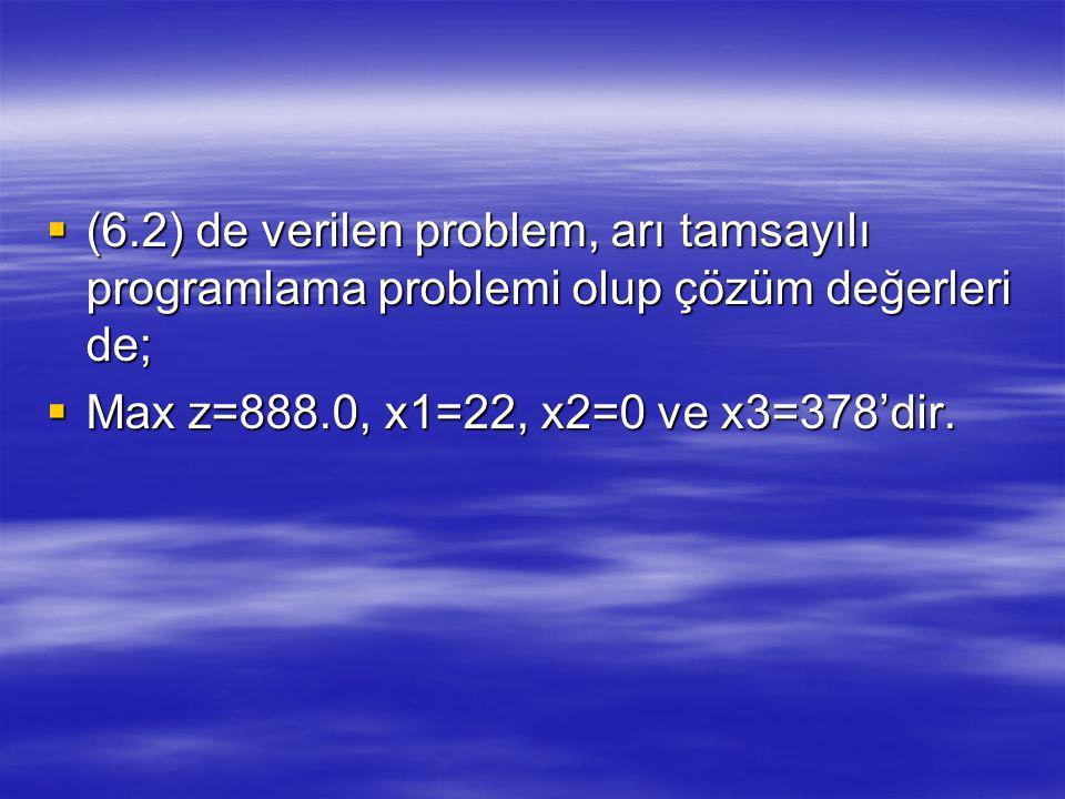  (6.2) de verilen problem, arı tamsayılı programlama problemi olup çözüm değerleri de;  Max z=888.0, x1=22, x2=0 ve x3=378'dir.