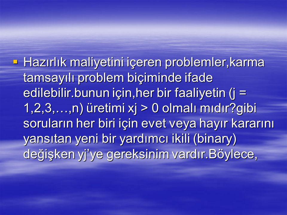  Hazırlık maliyetini içeren problemler,karma tamsayılı problem biçiminde ifade edilebilir.bunun için,her bir faaliyetin (j = 1,2,3,…,n) üretimi xj > 0 olmalı mıdır?gibi soruların her biri için evet veya hayır kararını yansıtan yeni bir yardımcı ikili (binary) değişken yj'ye gereksinim vardır.Böylece,