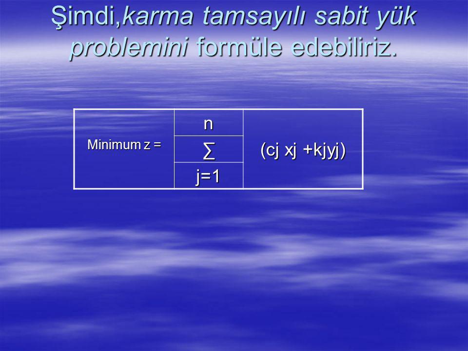Şimdi,karma tamsayılı sabit yük problemini formüle edebiliriz. Minimum z = n (cj xj +kjyj) ∑ j=1