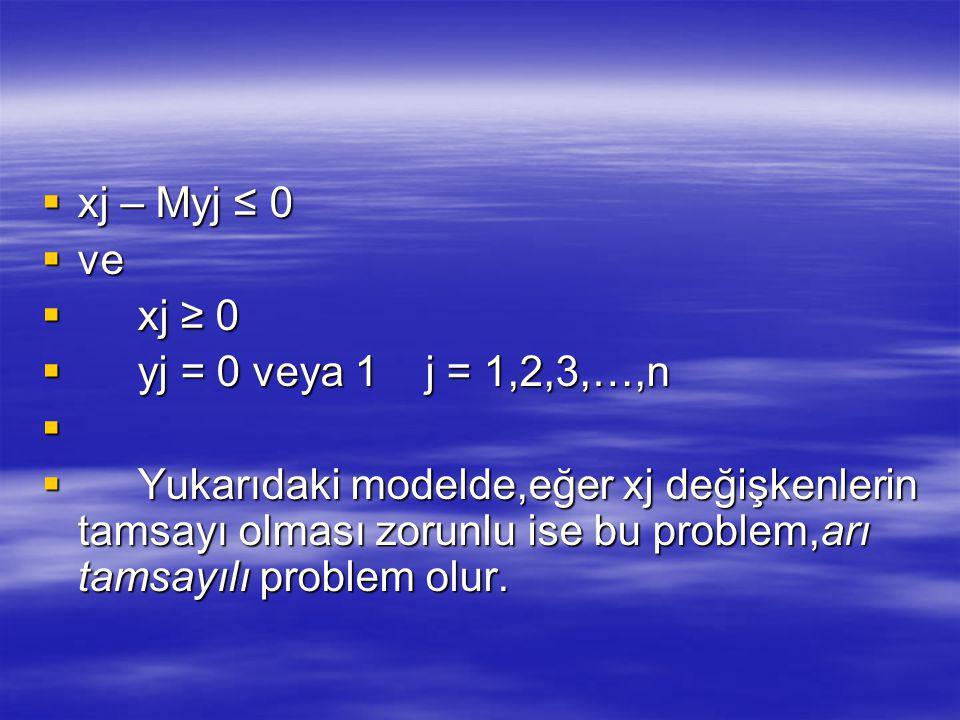  xj – Myj ≤ 0  ve  xj ≥ 0  yj = 0 veya 1j = 1,2,3,…,n   Yukarıdaki modelde,eğer xj değişkenlerin tamsayı olması zorunlu ise bu problem,arı tamsayılı problem olur.
