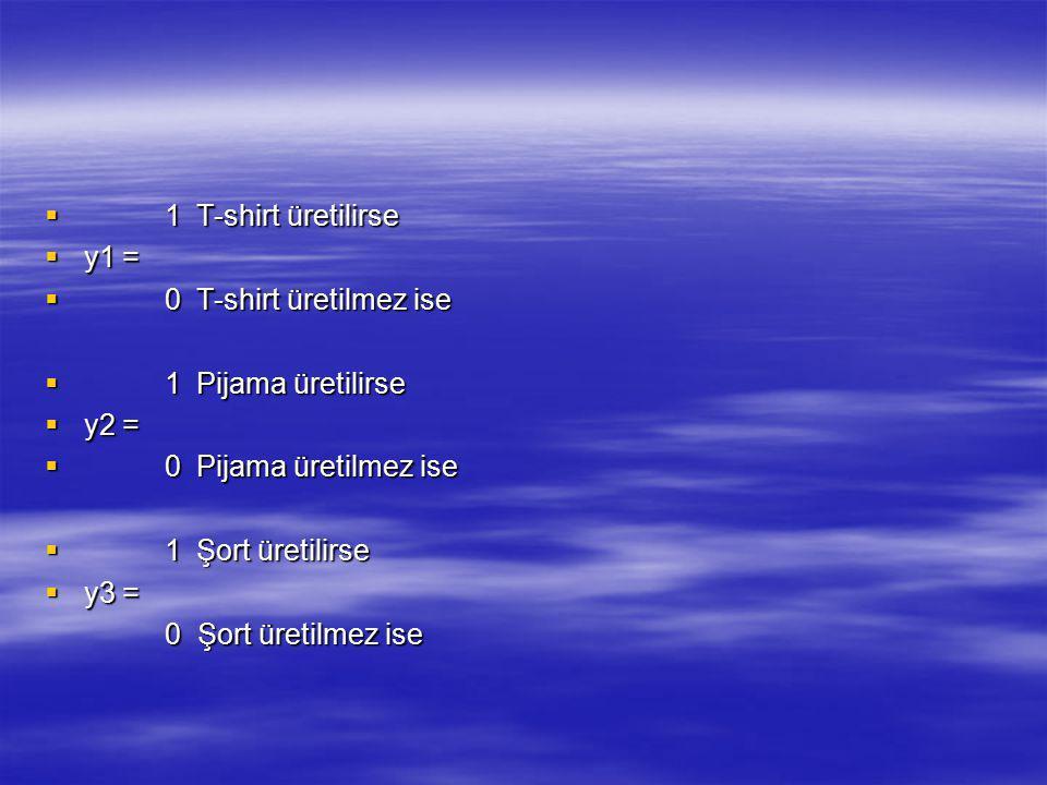  1 T-shirt üretilirse  y1 =  0 T-shirt üretilmez ise  1 Pijama üretilirse  y2 =  0 Pijama üretilmez ise  1 Şort üretilirse  y3 = 0 Şort üretil