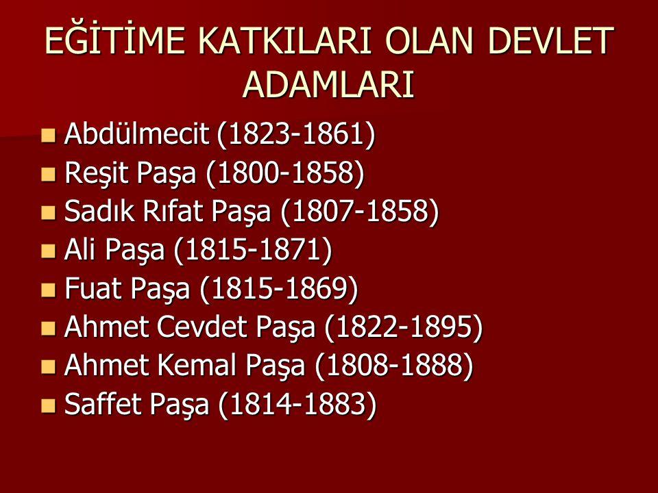 EĞİTİME KATKILARI OLAN DEVLET ADAMLARI Abdülmecit (1823-1861) Abdülmecit (1823-1861) Reşit Paşa (1800-1858) Reşit Paşa (1800-1858) Sadık Rıfat Paşa (1807-1858) Sadık Rıfat Paşa (1807-1858) Ali Paşa (1815-1871) Ali Paşa (1815-1871) Fuat Paşa (1815-1869) Fuat Paşa (1815-1869) Ahmet Cevdet Paşa (1822-1895) Ahmet Cevdet Paşa (1822-1895) Ahmet Kemal Paşa (1808-1888) Ahmet Kemal Paşa (1808-1888) Saffet Paşa (1814-1883) Saffet Paşa (1814-1883)