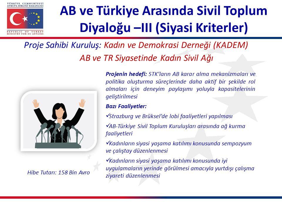AB ve Türkiye Arasında Sivil Toplum Diyaloğu –III (Siyasi Kriterler) Proje Sahibi Kuruluş: Kadın ve Demokrasi Derneği (KADEM) AB ve TR Siyasetinde Kad