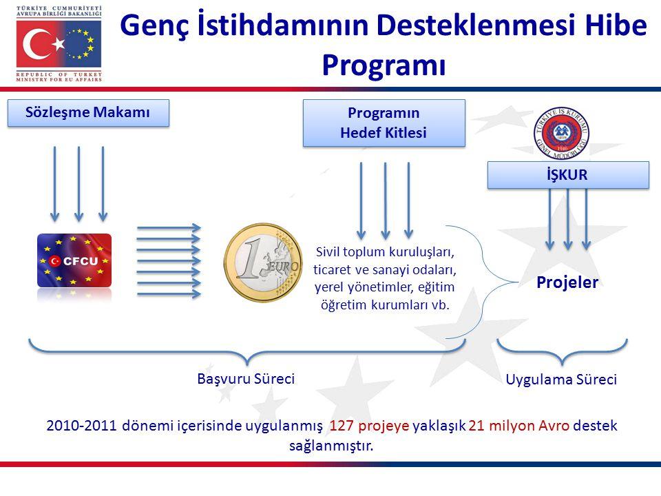 Sivil toplum kuruluşları, ticaret ve sanayi odaları, yerel yönetimler, eğitim öğretim kurumları vb. 2010-2011 dönemi içerisinde uygulanmış 127 projeye